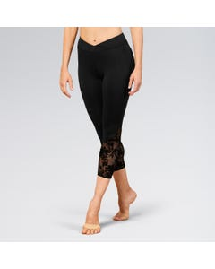 Bloch Ladies Floral Mesh Panel 7/8 Leggings