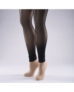 Lace Trimmed Footless Fishnet Tights - Black (Adult One Size)