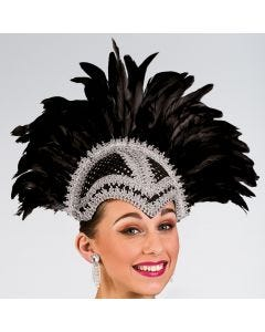 Sequin & Feather Helmet