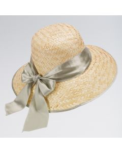 Straw Hat with Satin Ribbon (Assorted Cols)