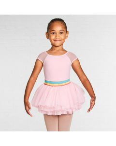 Bloch Mabel Gelato Stripe Waistband Cap Sleeve Tutu Leotard