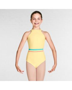 Bloch Aisha Gelato Stripe Waistband High Neckline Halter Leotard