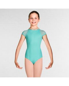 Bloch Alisha Gelato Weave High Neckline Racer Zip Back Cap Sleeve Leotard