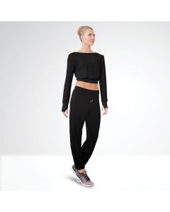 Bloch Niolle Mesh Panel Boat Neck Cropped Long Sleeve Top