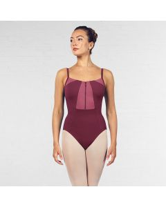 Bloch Vilette Zipper Front Open Back Contrast Colour Panelled Camisole Leotard