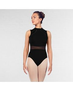 Bloch Solene High Neckline Mesh Waist Open Back Ladder Trim Tank Leotard