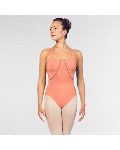 Bloch Marion Scoop Neckline Ladder Trim Cross Back Strap Tank Leotard