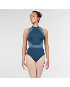 Bloch Alia Halter Neck Contrast Colour Panelled Open Back Leotard