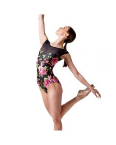 Dans-ez Short Sleeve Floral Leotard