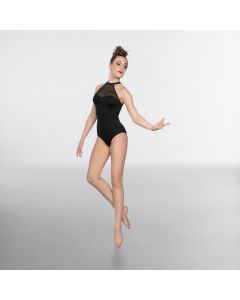 1st Position High Neck Mesh Strappy Back Fashion Leotard Black