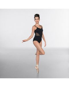 1st Position Mesh insert Cami Strap Fashion Leotard Black