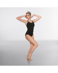 1st Position Lattice back and Mesh Bust Fashion Leotard Black