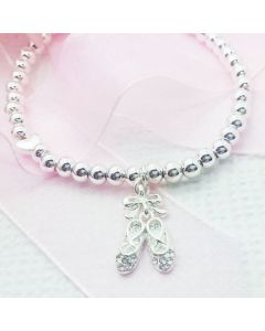 Silver Ballet Shoe Bracelet