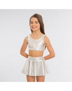 1st Position Metallic Circular Skirt Silver