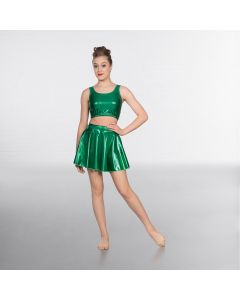 1st Position Metallic Circular Skirt Emerald