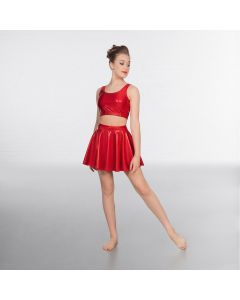 1st Position Metallic Circular Skirt Red