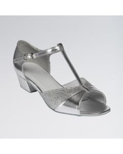 Amber Silver PU and Sparkling Silver Glitter Duo Ballroom Shoe with a T-bar and Slip Buckle