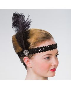 Flapper Hairband with Crystal Heart