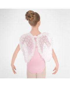 White Net Angel Wings with Glitter and Feather Trim